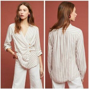 Maeve Striped Long-Sleeve Faux Wrap Blouse